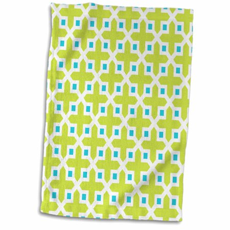 3dRose Cross Pattern Lime Green and Turquoise - Towel, 15 by 22-inch