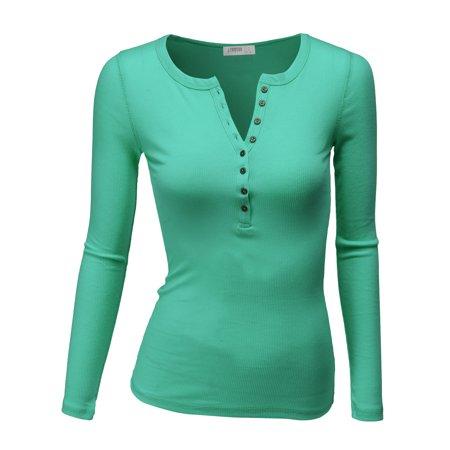 7875ecbe Doublju - Doublju Women's Womens Long Sleeve Henley Shirts Round Neck Long  Sleeve Button Down Casual Blouse Tops Plus Size JADE M - Walmart.com