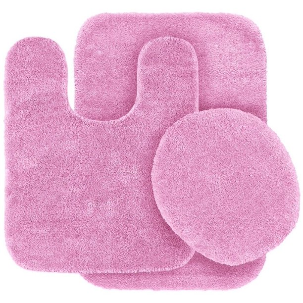 3 Pc Light Pink Bathroom Set Bath Mat Rug Contour And Toilet Lid Cover With Rubber Backing Nbsp 6 Walmart Com Walmart Com