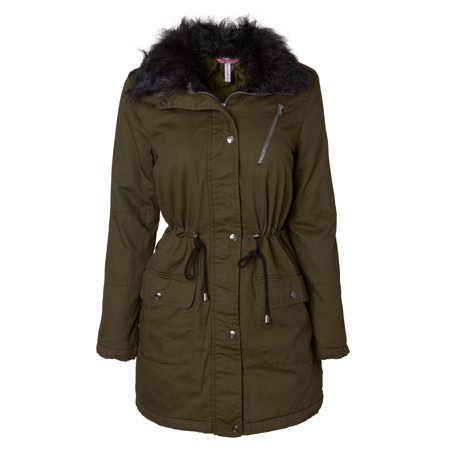 Women's Cotton Twill Quilt Lined Military Anorak Midlength Jacket With Faux Fur Collar Collar Cotton Women Poncho