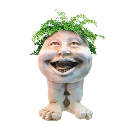 Homestyles Antique White Aunt Minnie the Muggly Face Humorous Statue Planter Pot ()