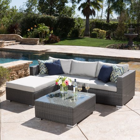 Faviola 4 Seater Outdoor Wicker Sectional Sofa Set with Aluminum Frame and Cushions, Grey, Silver