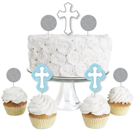 Little Miracle Boy Blue & Gray Cross - Dessert Cupcake Toppers - Baptism or Baby Shower Clear Treat Picks - Set of 24 (Baptism Cupcake Toppers)
