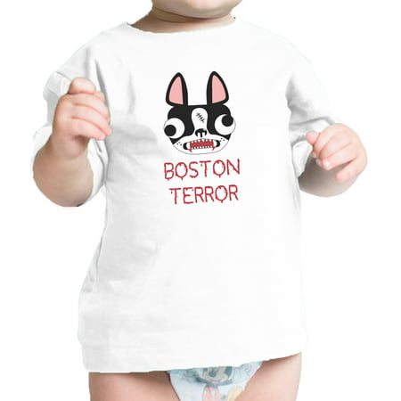 Boston Terror Terrier Cute Baby White Tee Shirt Halloween Costume