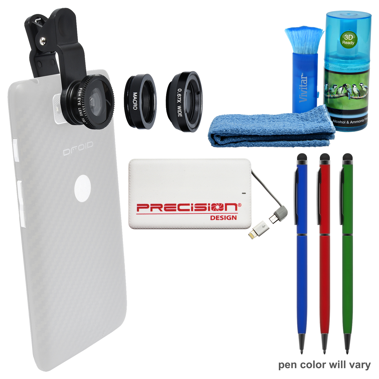 Zuma 3-in-1 Clip-on Fisheye, Macro & .67x Wide-Angle Lens Set for Smartphones & Tablets with 5000mAh Power Bank + (3) Stylus Pens + Cleaning Kit