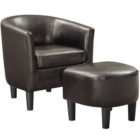 Espresso Leatherette Barrel Chair with Ottoman ()