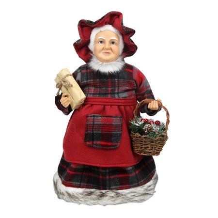 Northlight Seasonal Country Rustic Mrs. Claus Checkered Dress Holding a Basket and Gift Christmas Figure Dress Basket