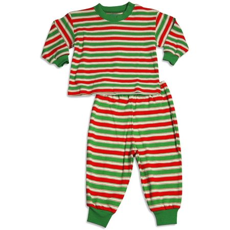 Saras Prints Boys Girls Unisex Kids Long Sleeve 2 Piece Pajama Set, 32831 Red/Green Stripe / 24Months (Dinosaur Train Pajamas)