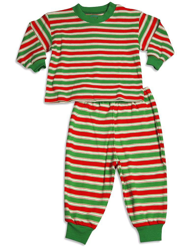 Saras Prints Boys Girls Unisex Kids Long Sleeve 2 Piece Pajama Set, 32831 Red/Green Stripe / 24Months