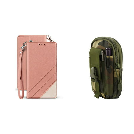 BC Synthetic PU Leather Magnetic Flip Cover Wallet Case (Rose Pink) with Jungle Camo Tactical EDC MOLLE Waist Pouch and Atom Cloth for Samsung Galaxy J3, J3 V 3rd Gen 2018