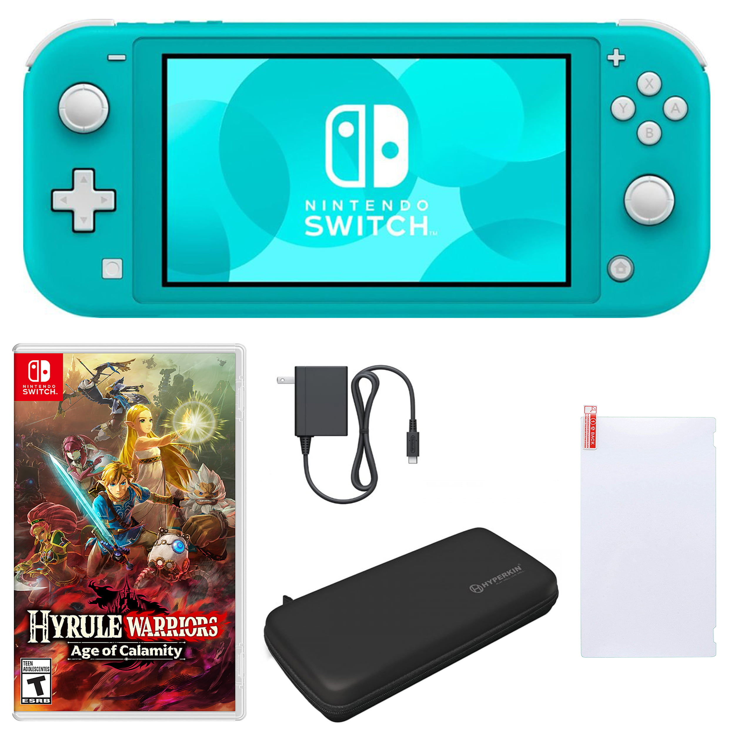 Nintendo Switch Lite In Turquoise With Hyrule Warriors Age Of Calamity And Accessories Walmart Com Walmart Com
