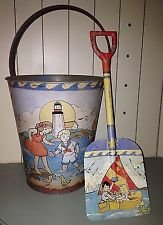 Click here to buy Vintage Sand Pail and Shovel Set Vintage Beach Toys Lighthouse & Children Artwork Retro Childrens Toys & Decor.