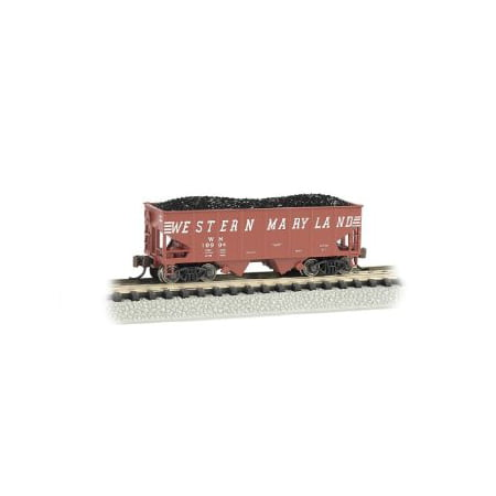 Bachmann Industries USRA 55-Ton 2-Bay Hopper Western Maryland (Speed Lettering) Train Car, N Scale Multi-Colored