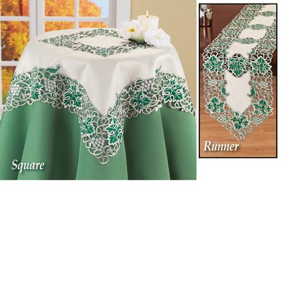 Grapevine Table Runner/Topper with Embroidered Green Leaves, (Grapevine Town Square)