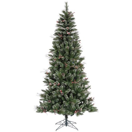 vickerman 9 snow tipped pine and berry artificial christmas tree unlit
