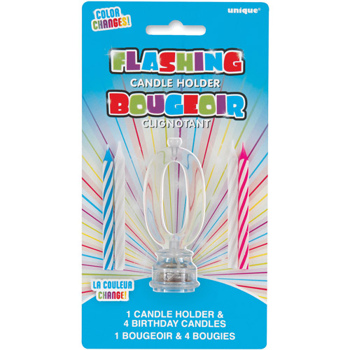 Blinking Number 0 Cake Decoration and Candles, 5-Piece Set