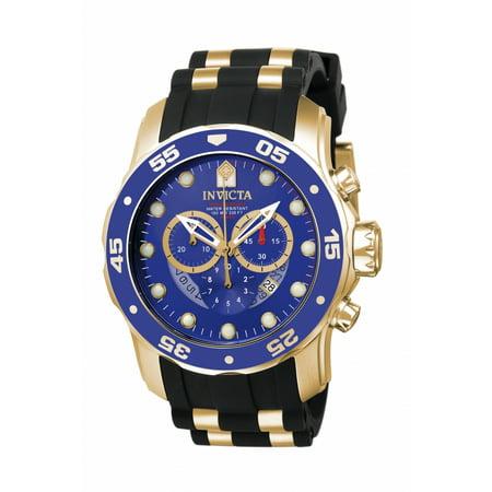 Chronograph Tachymeter Rubber (Men's Pro Diver 6983 Gold Rubber Swiss Chronograph Fashion Watch )