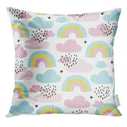 BSDHOME Blue Cute Rainbows and Clouds Pattern Colorful Love Pillow Case 18x18 Inches Pillowcase