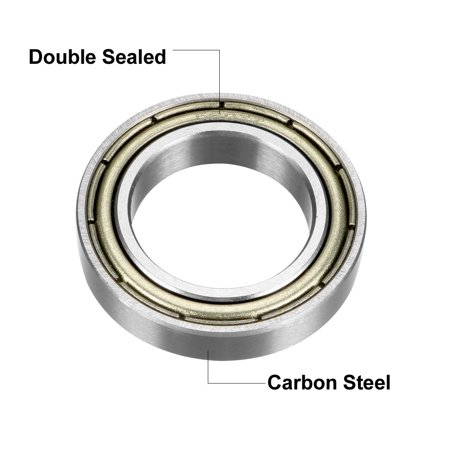 Deep Groove Ball Bearing 6802ZZ Double Sealed 15mmx24mmx5mm Carbon Steel 10Pcs - image 2 of 4