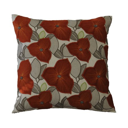 AM Home NaturalRust Embellished Poppy Decorative Pillow Feather Enchanting Poppy Decorative Pillows