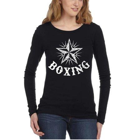 Junior's Boxing Star Black Long SLV T-Shirt Medium Black