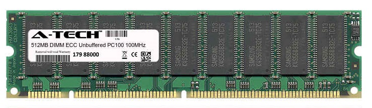 512MB Module PC100 100MHz ECC Unbuffered SD DIMM Server 168-pin Memory Ram