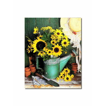 Sunflowers in Watering Can #3 Garden Shed Wall Picture 8x10 Art Print
