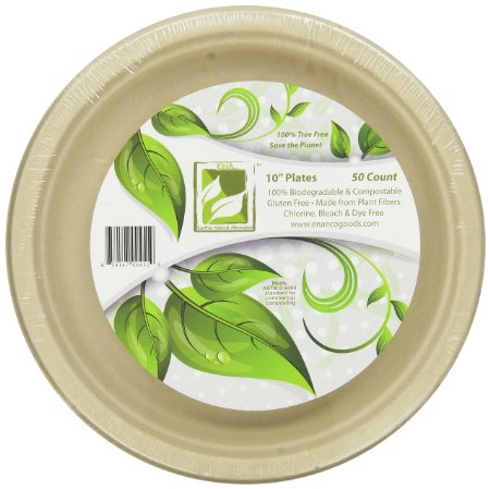 "Earth's Natural Alternative Unbleached Paper Dinner Plates, 10"", 50 Count"