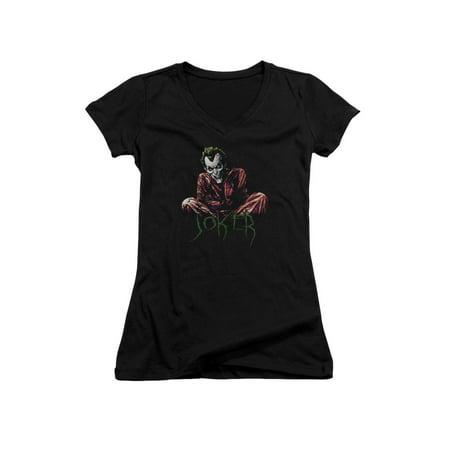 Asylum Straitjacket (Batman DC Comics Joker Arkham Asylum Straight Jacket Juniors V-Neck T-Shirt)