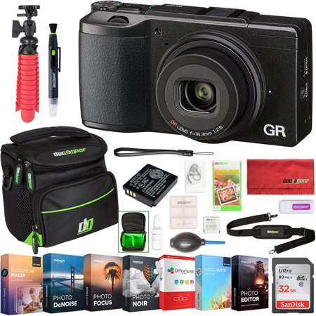 Ricoh GR II 16.2 MP APS-C Compact Digital Camera with Wi-Fi & Full 1080p Video Recording and Deco Gear Photography Travel Case Cleaning Kit Pro Editing