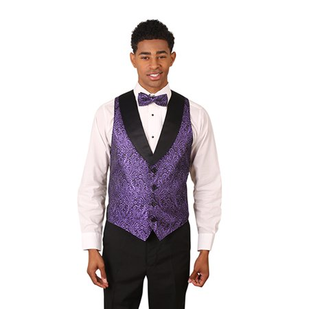 Men's Metallic Tuxedo Vest with Black Lapel - Purple Aladdin Vest