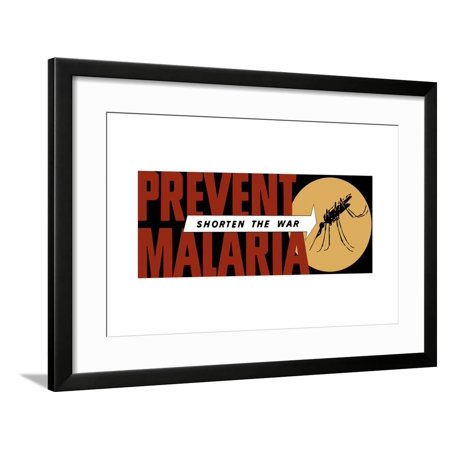 World War II Propaganda Poster of an Arrow Pointing at a Large Mosquito Framed Print Wall Art 2 Large Framed Print