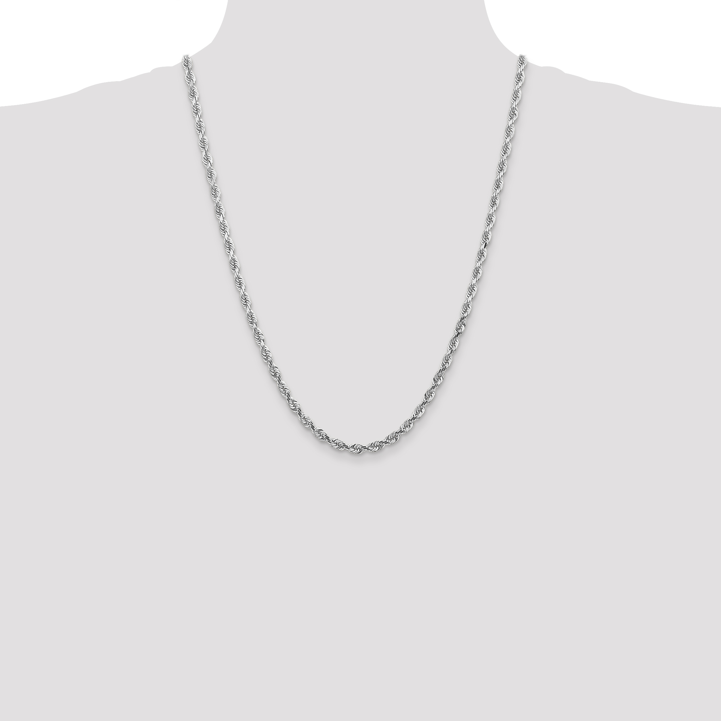 14k White Gold 4.5mm Quadruple Link Rope Chain Necklace 24 Inch Pendant Charm Handmade Fine Jewelry Gifts For Women For Her - image 2 de 5