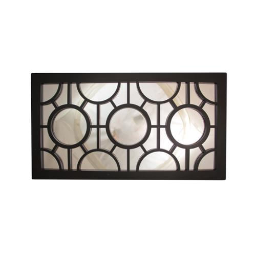 "25.5"" Jet Black Geometrical Circles Decorative Rectangular Wall Mirror"