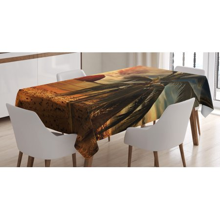 Tropical Tablecloth, Exotic Beach with Coconut Palm Tree and Horizon Sunset Calm Panorama, Rectangular Table Cover for Dining Room Kitchen, 60 X 84 Inches, Orange and Olive Green, by Ambesonne](Beach Table Cloth)