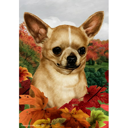 Chihuahua Garden Flag - Chihuahua Tan - Best of Breed Fall Leaves Garden Flags