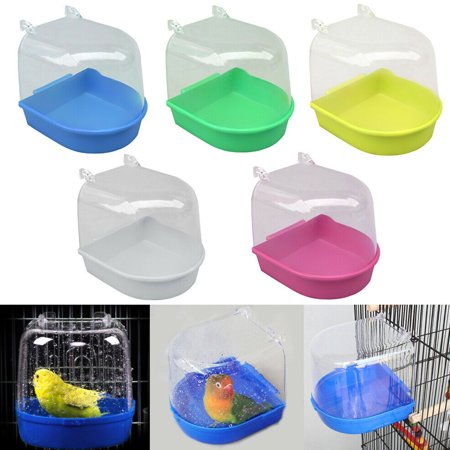 Blue Bird Cottage - Pet Hanging Water Bath Tub for Small Bird Parrots Cage blue