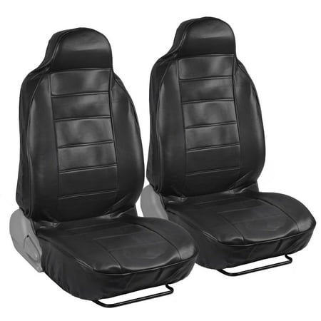 RealFeel Faux Leather Car Seat Covers, Front Pair, High Back Leatherette