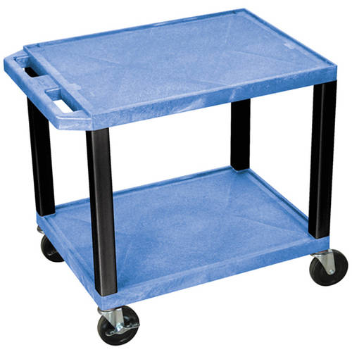 H. Wilson Tuffy 2-Shelf A/V Cart with Electric, Blue Shelves and Black Legs
