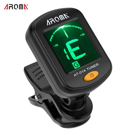 AROMA AT-01A Rotatable Clip-on Tuner LCD Display for Chromatic Guitar Bass Ukulele Violin
