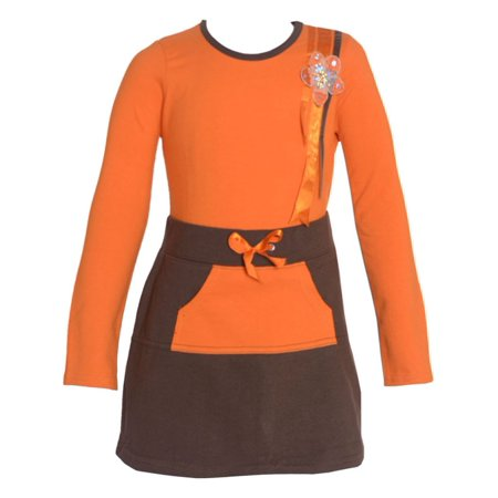 Floral Outfit Girl - No Fuze Little Girls Orange Brown Floral Adorned Top 2 Pc Skirt Outfit 2T