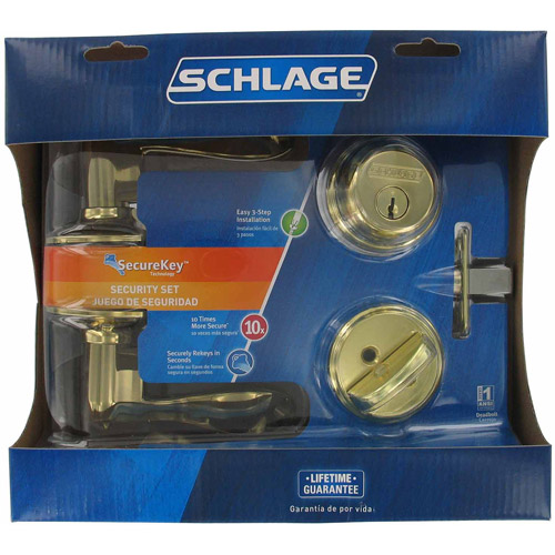 Schlage FB50NVACC505605 Bright Brass Accent Keyed Lever Front Entry Set