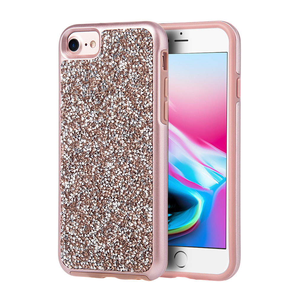 iPhone 8 Case, Premium Hybrid Diamond Case Shockproof Bumper Cover Studded with Rock Crystal Bling Rhinestone for iPhone 8 - Gold