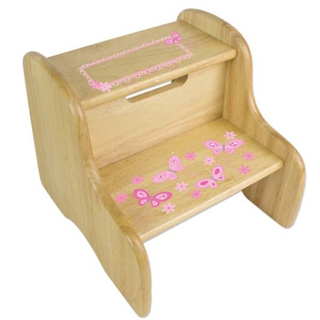 Pink Butterfly Stool - Personalized Butterflies pink Wooden Two Step Stool