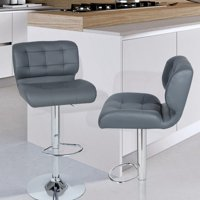 Joveco Adjustable Barstool Chair with Chrome Finish Pedestal Base ( set of two)