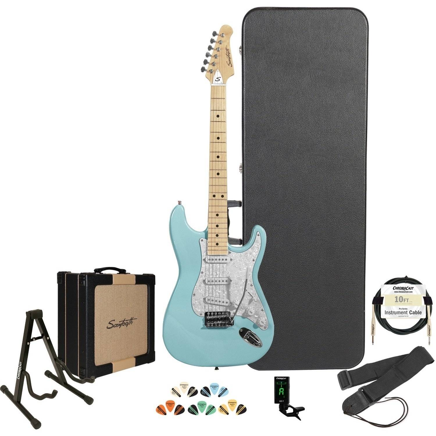 Sawtooth ES Series Electric Guitar with Retro 25w Sawtooth Amp & ChromaCast Accessories