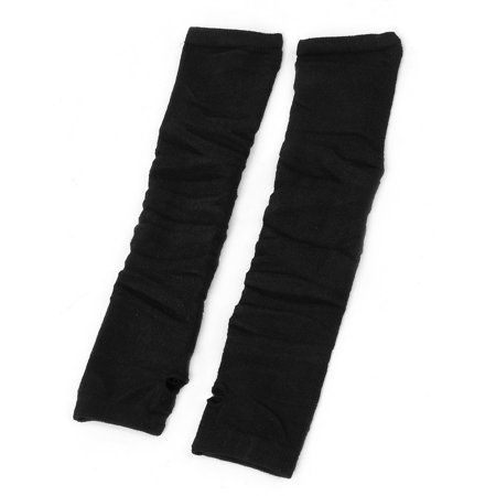 Sleeve Arm Warmers - Unique Bargains Lady Black Stretchy Fingerless Knitted Sleeve Arm Warmers Long Gloves Pair