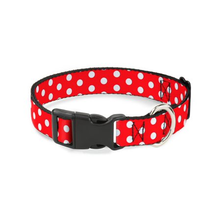 Buckle-Down Minnie Mouse Polka Dots Red/White Disney Dog Collar Plastic Clip Buckle, Large