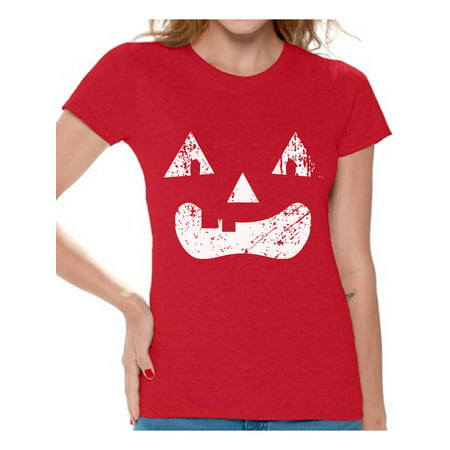 Awkward Styles Pumpkin Face Tshirt Halloween Pumpkin T Shirt Halloween Shirts for Women Dia de los Muertos Gifts for Her Day of the Dead Party Outfit Trick or Treat Gifts Spooky Pumpkin Women's Shirt - Pumpkin Faces For Halloween
