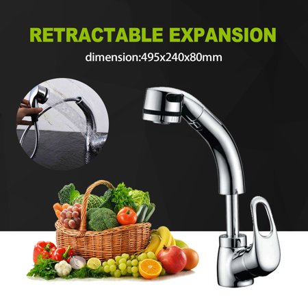 Chrome Pull Out Flexible Spray Kitchen Basin Sink Mixer Tap Rotate Spout Faucet Chrome Chrome Kitchen Mixer Tap